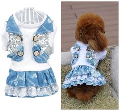 NEW 2014 Autumn Bling Dog Dress Shirt Dog Pet Puppy Dresses XXS XS S M L XL