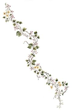 Watercolor artwork Porcelain Vine Flower and Berry Wall Stencil by DeeSigns A Platinum Cufflink Set Anklet Tattoos, Arm Tattoos, Body Art Tattoos, Sleeve Tattoos, Tatoos, Flower Vine Tattoos, Tattoo Mama, Vine Drawing, Vine Design