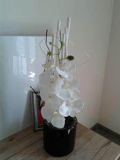 Moderní+aranžmá+s+orchidejí+Moderní+celoroční+dekorace+s+orchidejí.+Výška+dekorace+51cm,délka+17cm,šířka+16cm. Glass Vase, Home Decor, Decoration Home, Room Decor, Home Interior Design, Home Decoration, Interior Design