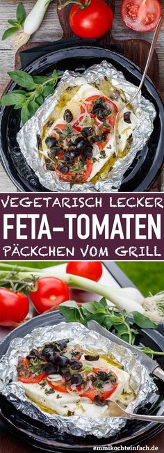 Feta Tomaten Päckchen vom Grill - emmikochteinfach Grilled Feta and Tomato Packets The simple recipe for meatless grilling. The simple feta and tomato packets are quickly prepared and put on the grill Vegetarian Barbecue, Barbecue Recipes, Grilling Recipes, Vegetarian Recipes, Healthy Recipes, Clean Eating Recipes, Clean Eating Snacks, Cooking For Two, Fabulous Foods