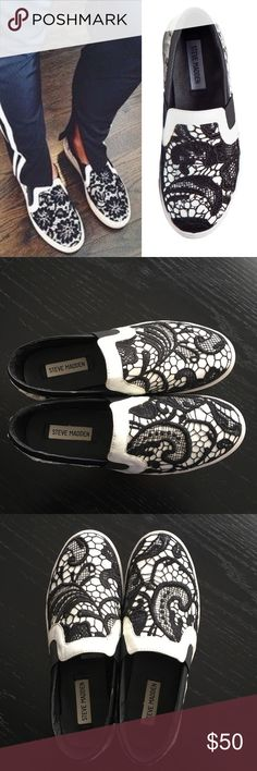 Steve Madden 'Gulible' Sneaker Lacy embroidery brings a touch of romance to the retro silhouette of a street-savvy slip-on. Looks like the Givenchy sneaker that retailed for $700. Black/white goes with everything.  Leather and textile upper and lining; Rubber sole. The color of the sole was originally off white, not bright white. Lightly worn only a couple of times– no holes, stains, or scuff marks - very minor dirt on bottoms as shown in photos. In great, pre-owned condition. Bundle & save…