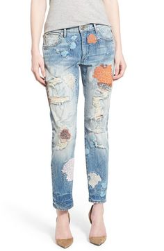 Women's True Religion Brand Jeans 'Liv' Embroidered Crop Boyfriend Skinny Jeans (Vintage True Destroyed Floral)