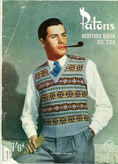 Why are the fellas in vintage patterns always smoking?   One of the Retro Monday patterns from www.littleyellowcat.com