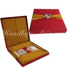 Embellished Red & Gold Silk Gift Box For Bank Notes - Handbag-Asia.com | Luxury Invitations, Hand-Made Stationary, Packaging & Bags