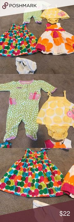 """Girls 3 month bundle Just by you Carter's """"I love auntie"""" coveralls.  Just by you Carter's yellow sundress.  2 Carter's party dresses Carter's Other"""