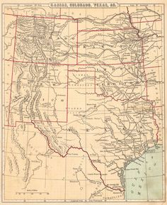 Map Antique. Kansas Colorado Texas &c.  D. Appleton & Co. c1879. New York.  From Cornell's Intermediate geography. Completed and projected railroads do not extend past Ft. Worth or Waco. Numerous forts.