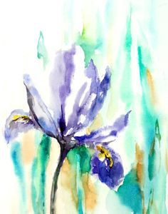 Iris Flower Watercolor Art Print from Original Watercolor Painting 11x14 Abstract Floral Blue Green #design #gifts
