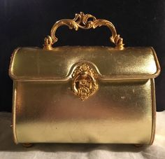 """VINTAGE NETTIE ROSENSTEIN AUTHENTIC BERGDORF GOODMAN GOLD BOXY """"LUNCHBOX"""" PURSE   Clothing, Shoes & Accessories, Vintage, Vintage Accessories   eBay!"""