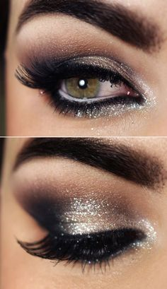 Careful blending of shimmer eye shadow and a careful flick of liquid eye liner create the perfect party eye