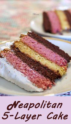 Neapolitan 5-Layer Cake.  Chocolate, Strawberry and Vanilla cake, all in one delicious layer-cake.  http://www.winnish.net/2012/02/101/