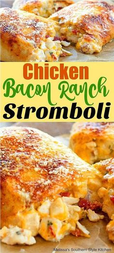 dinner recipes for family main dishes Chicken Bacon Ranch Stromboli Quesadillas, Burritos, Food Dishes, Main Dishes, Costco Rotisserie Chicken, Melissas Southern Style Kitchen, Ranch Recipe, Sandwiches, Bacon Appetizers