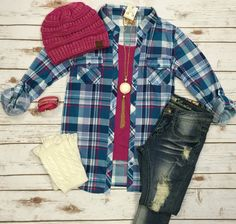 Penny Plaid Flannel Top: Blue/Pink