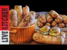 Αγαπημένη συνταγή Πιροσκί η Περεσκία Amazing Pirozhki,pyrizhky,пиріжки ,piroška, - YouTube Diet Recipes, Vegan Recipes, Pretzel Bites, Kitchen Living, Sausage, Muffin, Lunch, Bread, Dining