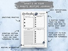 Printable 5 Minute Bedtime Journal, Gratitude Journal, Law of Attraction, Manifestation Planner, Evening Planner, Positivity Planner