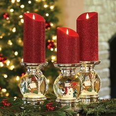 Fabulous Christmas Candle Holder Ideas - Christmas Celebration - All about Christmas Christmas Snow Globes, Christmas Mantels, Christmas Home, Christmas Wreaths, Christmas Crafts, Christmas Ornaments, Christmas Snowman, Christmas Candle Holders, Christmas Centerpieces