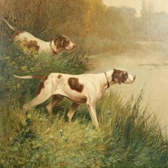 25027 Antique Oil Painting of Two Gun Dogs