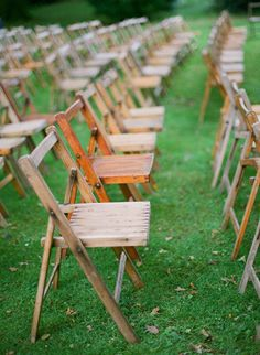 rustic wood chairs used for ceremony seating  Photography by Brosnan Photographic / brosnanphotographic.com, Event Styling by Pearl and Godiva / pearlandgodiva.com/