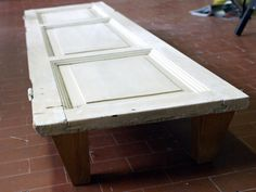 Coffee table made with an old door
