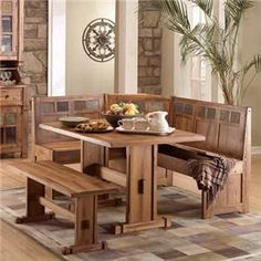 sedona rustic oak wood breakfast nook set wside bench
