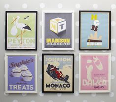 Vintage style personalized wall art- new at Pottery Barn Kids