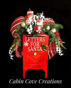 Decorated Letters to Santa Mailbox, Christmas Swag Floral Arrangement with Buffalo Plaid Ribbon by Cabin Cove Creations Christmas Swags, Silver Christmas, Country Christmas, Christmas Decorations, Christmas Ornaments, Christmas Floral Arrangements, Holiday Centerpieces, Santa Mailbox, Creative Christmas Cards