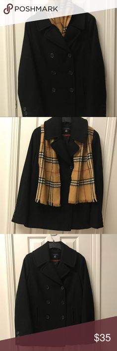 Tommy Hilfiger Pea Coat Scarf included. Barely worn pea coat. Fantastic condition. Fully lined. Good for winter. Scarf included. It is NOT a Burberry scarf. Tommy Hilfiger Jackets & Coats Pea Coats