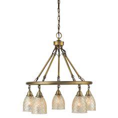 $179 Lowes allen + roth Lynlore 24.02-in 5-Light Old Brass Vintage Mercury Glass Draped Chandelier