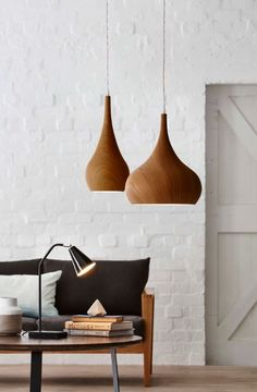 Add some texture with our range of Timber Grove Pendant Lights bunnings lighting interiordesign - Minimal Interior Design Modern Lighting Design, Interior Lighting, Home Lighting, Pendant Lighting, Wood Pendant Light, Pendant Lamps, Modern Lamps, Unique Lamps, Handmade Home Decor