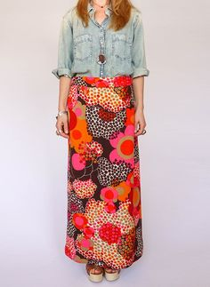 Vintage 60s floral maxi skirt @ www.secondhandnew.nl