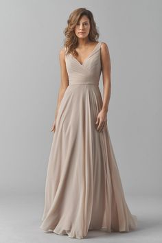 Shop Watters Bridesmaid Dress - in Crinkle Chiffon at Weddington Way. Find the perfect made-to-order bridesmaid dresses for your bridal party in your favorite color, style and fabric at Weddington Way. Beige Bridesmaids, Wedding Bridesmaid Dresses, Wedding Attire, Bridemaid Dresses Long, Bridesmaid Outfit, Long Dresses, Dress Long, Beige Wedding Dress, Beige Dresses