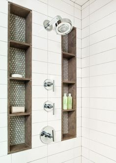 Bathroom ideas, bathroom renovation, master bathroom decor and master bathroom organization! From claw-foot tubs to shiny fixtures, these are the bathroom that inspire me the most. Master Bathroom Shower, Shower Niche, Master Bathrooms, Shower Set, Bath Shower, Master Baths, Luxury Bathrooms, Diy Shower, Bath Tub