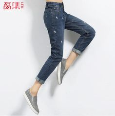 Jeans Mujer 2017 Fashion Mid Waist Women Loose Jeans Low Elastic Casual Jeans Plus Size Pants 4XL 5XL 6XL #Affiliate