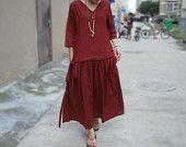 Buddhist red Loose Fitting womens Long dress Buddhist by MaLieb