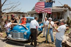 The President visting Joplin, MO after the tornado  in 2011