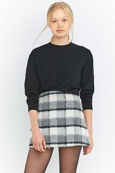 Fluffy Checked A-Line Mini Skirt