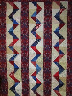 Patriotic Rickrack Road Quilt donated to Blue Star Mothers - 2012.  Pattern from Quilt Sampler, Fall/Winter 2007.