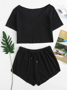 Shop Boat Neck Crop Tee With Drawstring Waist Shorts online. SheIn offers Boat Neck Crop Tee With Drawstring Waist Shorts & more to fit your fashionable needs. Girls Fashion Clothes, Teen Fashion Outfits, Outfits For Teens, Summer Outfits, Girl Outfits, Pajama Outfits, Crop Top Outfits, Cute Pajama Sets, Cute Sleepwear