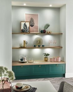 """Howdens on Instagram: """"Speak to your builder today about bespoke shelving and other storage solutions which will make your kitchen unique to you.  Featured:…"""" Alcove Ideas Living Room, Living Room Shelves, New Living Room, Living Room Kitchen, Living Room Designs, Living Room Decor, Kitchen Shelves, Alcove Decor, Cozy Living"""