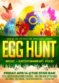 Egg Hunt PSD Flyer Template - http://xtremeflyers.com/egg-hunt-psd-flyer-template/ Egg Hunt PSD Flyer Template was designed to advertise any kind of event related to an Easter Event in a public space and/or pub/bar/club.  #Easter, #Egg, #EggHunt, #Flyer, #Hunt, #Poster, #Psd, #Spring, #Template