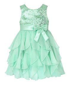 Green Sequin Swirl Ruffle Dress - Infant, Toddler & Girls #zulily #zulilyfinds