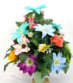 Cemetery Vase Flower Arrangement Featuring Beautiful Spring Flowers #Crazyboutdeco