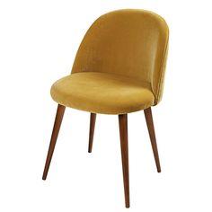 Vintage stoel van petrolblauw velours en berkenhout | Maisons du Monde