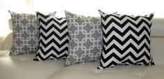 Chevron Throw Pillow  - Gotcha Storm Gray Chain Link and Zig Zag Chevron Black Decorative Throw Pillows - 4 Pack -- Free Shipping- let me know your thoughts on the combo of black, gray, and white....