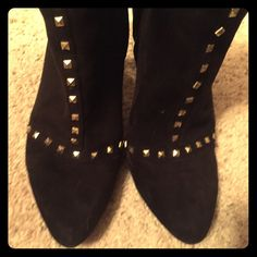 Kelly and Katie ankle bootie - 6.5 Black boots with gold stud accents - hit you a little above the ankle bone. Worn two or three times. Small heel - 1 inch maybe 1.5 inches Kelly & Katie Shoes Ankle Boots & Booties
