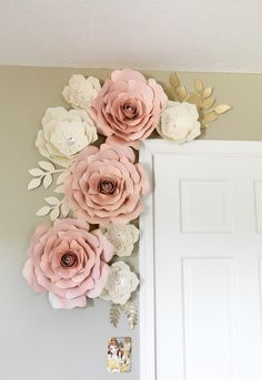 Flower wall Decoration - Blush and white paper flowers paper flower wall decor nursey wall decor backdrop wedding. White Paper Flowers, Paper Flower Wall, Paper Flowers Wall Decor, Flower Room Decor, Pink Paper, Paper Room Decor, Hanging Paper Flowers, Hanging Flower Wall, How To Make Paper Flowers