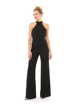 MANILA HALTER NECK JUMPSUIT  $498 $249  HALTER NECK SLEEVELESS JUMPSUIT THAT HIGHLIGHTS SHOULDERS AND EXPOSED BACK WITH CUT OUT DETAIL. FITTED BODICE AND WIDE LEG PANT PAIR GREAT TOGETHER FOR A SLEEK LOOK. BACK CLOSURES FEATURE HIDDEN ZIPPER AND HOOK AND EYE NECK CLOSURE.    98% POLYESTER 2% SPANDEX DRY CLEAN ONLY