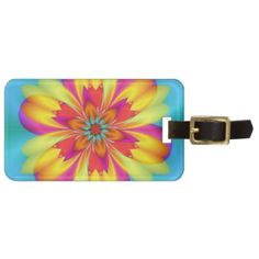Colorful fractal flower luggage tag - perfect to travel to the tropics!