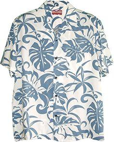 3381581c2 Rayon, RJC - Kalaheo Label, Made in Hawaii. Delicate Tropicals, Men's Hawaiian  Tropical Print Kalaheo Shirt created in Blue, Green and *Brown.