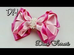 Laço de fita de cetim - Tutorial passo a passo - Ribbon bow hair - Dani Ferrari. - YouTube