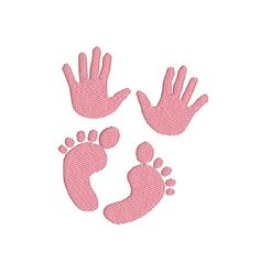 Baby Handprints and Footprints - Welcome New Baby, Maternity, Pregnancy Filled Machine Embroidery Design in 3 Sizes - 2,7 x 3, 4x4, 5x7